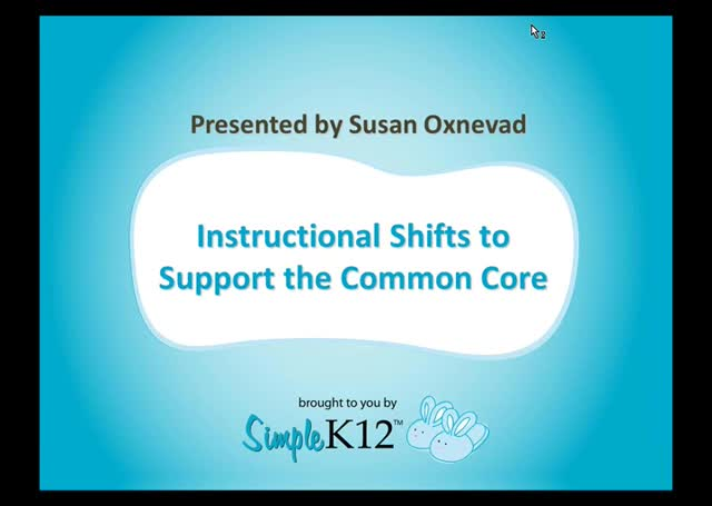 Instructional Shifts To Support The Common Core Webinar Simplek12